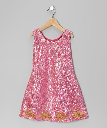 Fuchsia Sequin Rabbit Dress - Girls