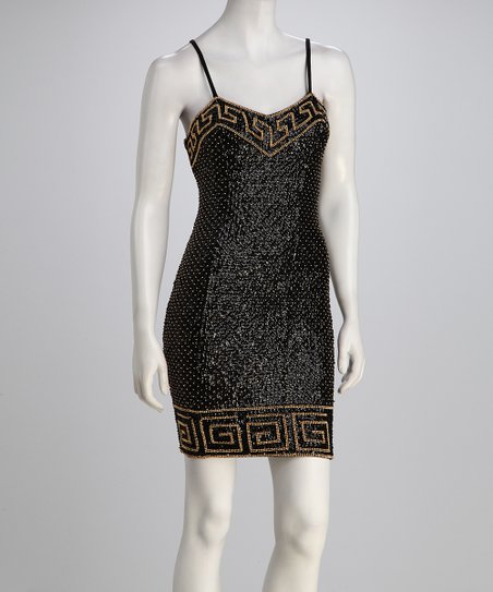 Black Greek Sequin Dress  Women
