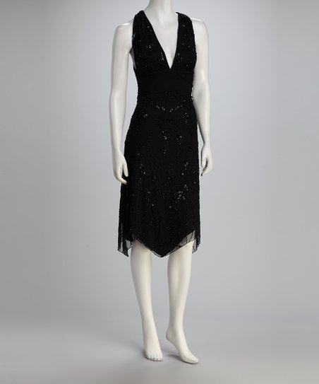 Black Beaded V-Neck Dress – Women