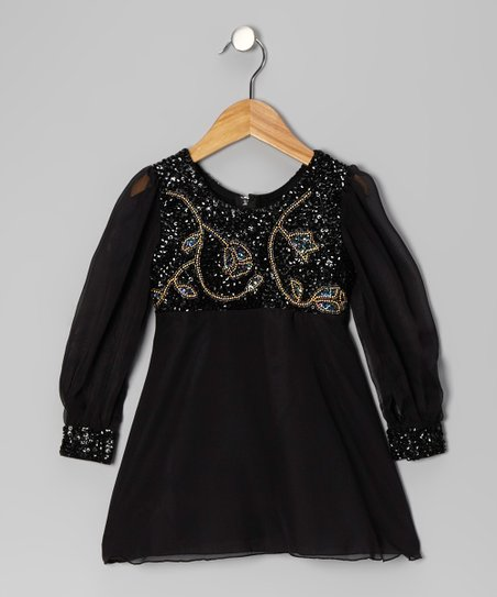 Black Metallic Floral Chiffon Dress - Toddler & Girls