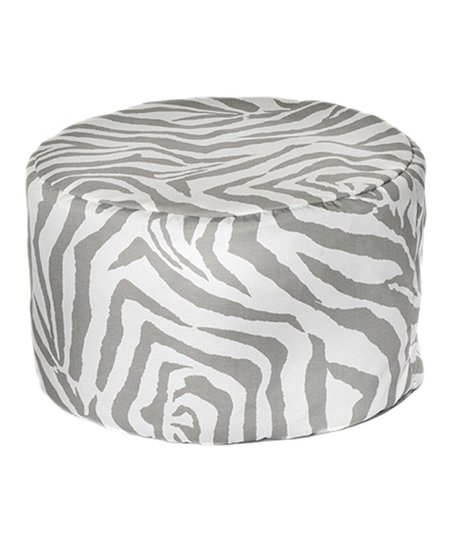 Gray Zebra Outdoor Pouf