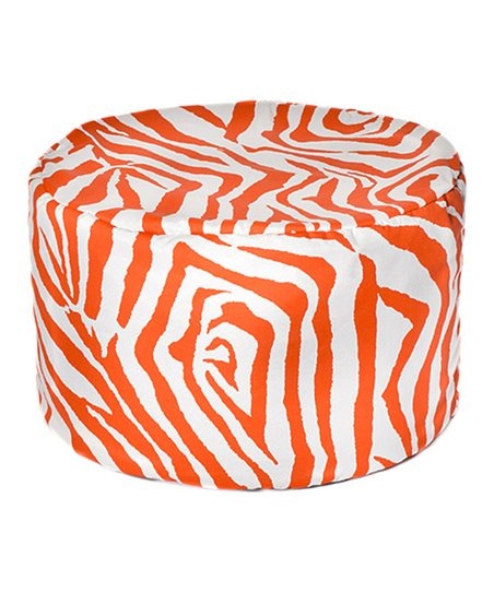 Orange Zebra Outdoor Pouf