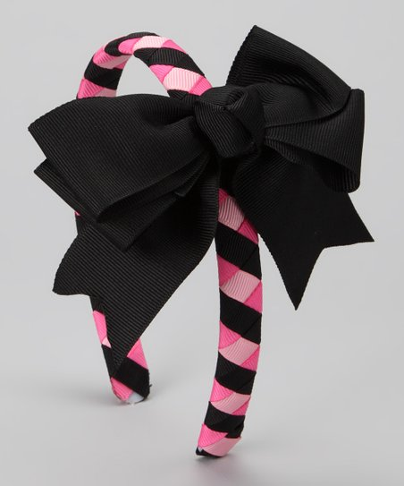 Pink & Black Braided Headband