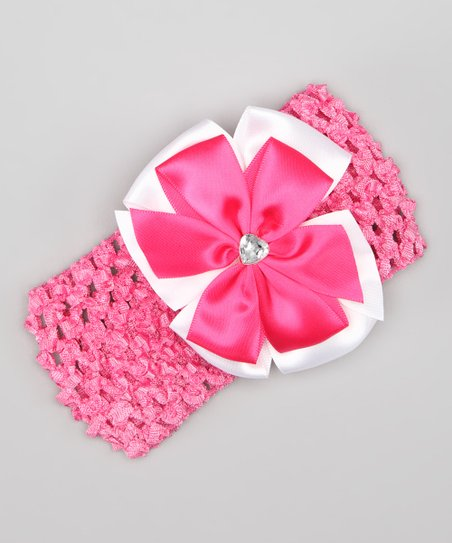 Pink Flower Bow Crochet Headband
