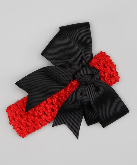 Red & Black Bow Crochet Headband