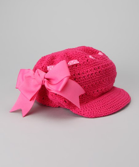 Pink Bow Crocheted Newsboy Hat