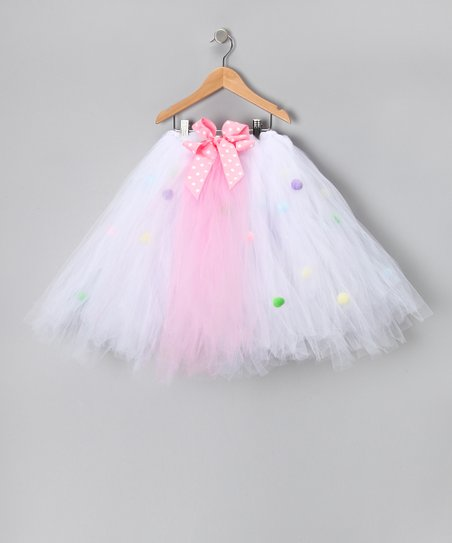 White & Pink Pom-Pom Dress - Infant, Toddler & Girls