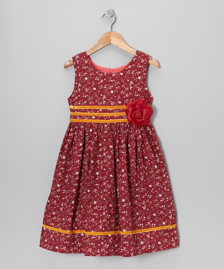 Red Floral A-Line Dress - Toddler & Girls