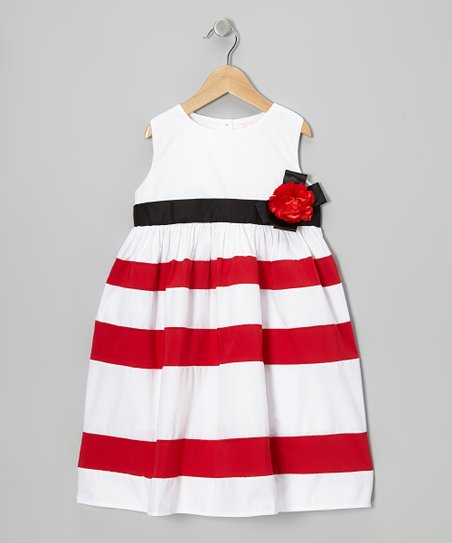 White & Red Stripe A-Line Dress - Infant & Toddler