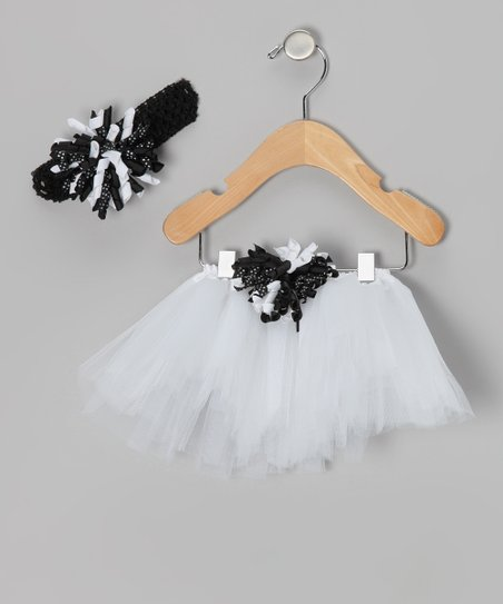 White & Black Pin Dot Corker Tutu & Headband - Infant