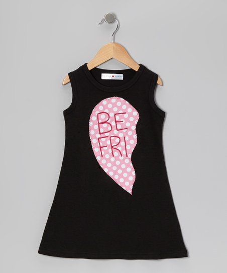 Black & Pink 'Be Fri' Heart Dress - Infant, Toddler & Girls