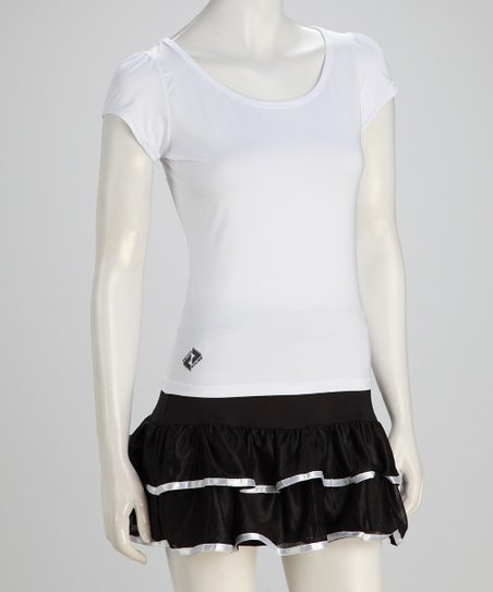 White Tennis Puff-Sleeve Tee - Women