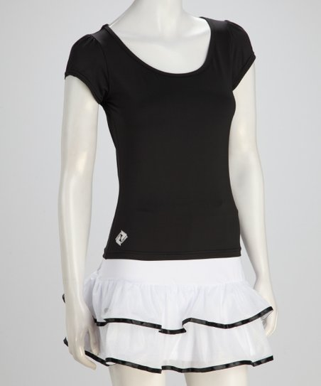 Black Tennis Puff-Sleeve Tee - Women