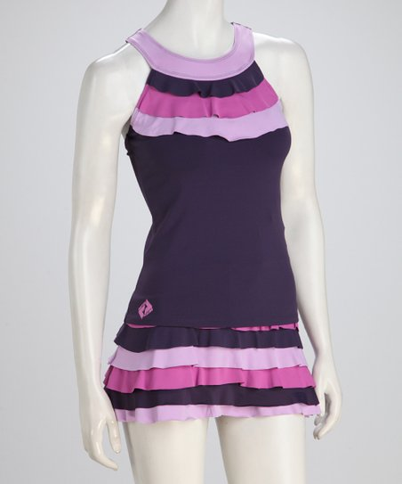 Purple & Pink Ruffle Tennis Tank - Women