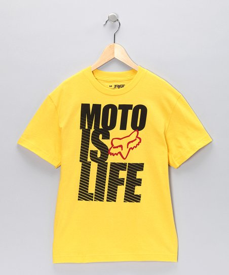 Yellow 'Moto Is Life' Tee