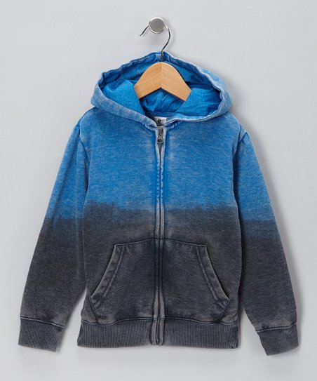Blue Dip-Dye Zip-Up Hoodie - Boys