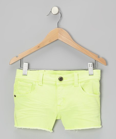 Neon Yellow Denim Shorts - Girls