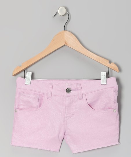 Rose Glitter Denim Shorts - Toddler & Girls