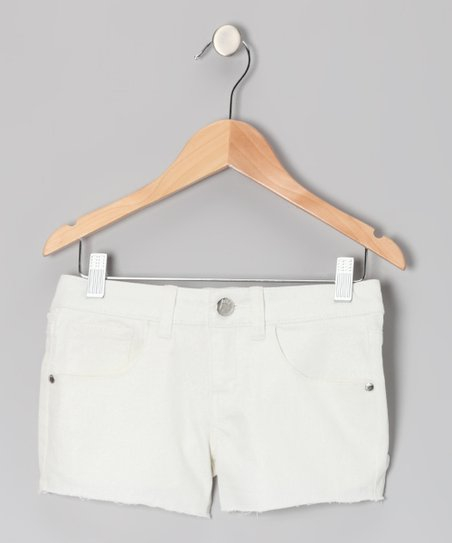White Glitter Denim Shorts - Toddler & Girls