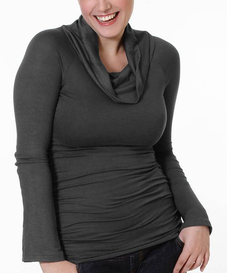 Charcoal Gray Maternity & Nursing Cowl Neck Top - Women