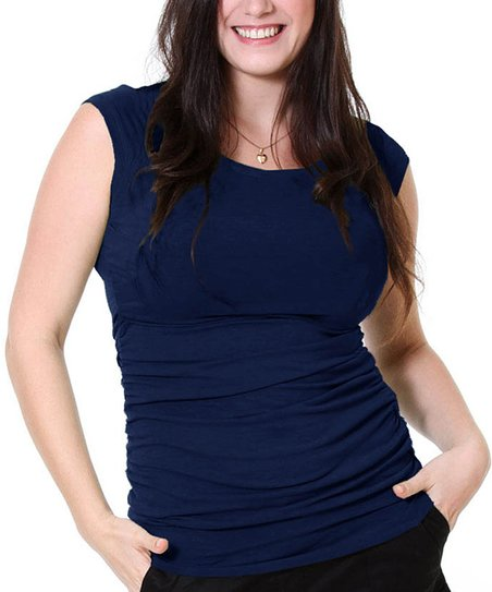 Navy Maternity & Nursing Cap-Sleeve Top - Women