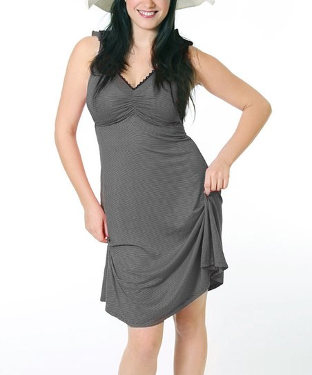 Black & Gray Stripe Maternity & Nursing Dress - Women