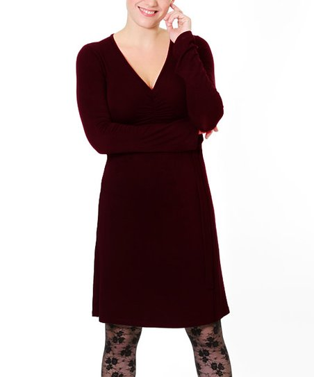 Brown To Tie For Maternity & Nursing Dress - Women