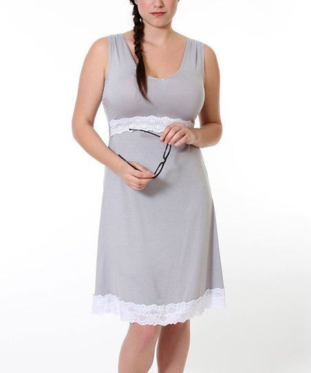 Stone Gray Maternity &amp; Nursing Nightgown - Women