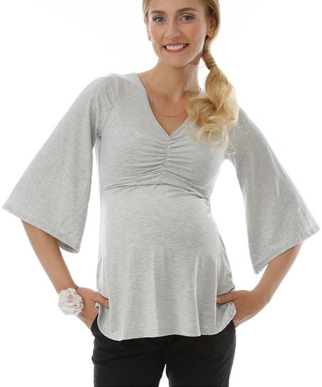 Heather Gray Origami Maternity & Nursing Top - Women