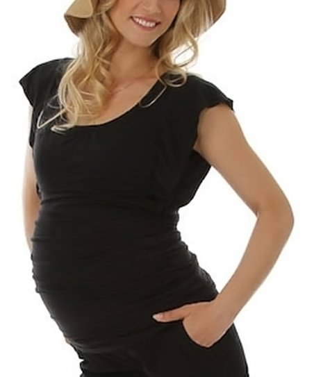 Black Maternity & Nursing Angel-Sleeve Top - Women