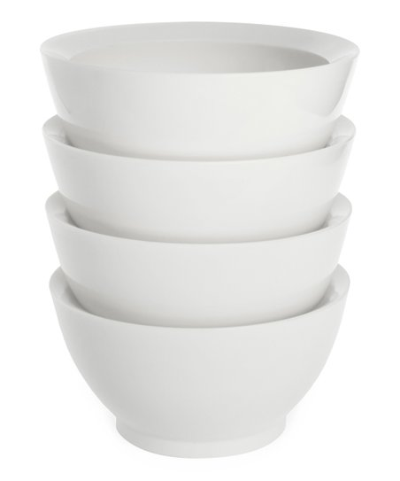 White 20-Oz. No-Spill Smart Lip Bowl - Set of Four