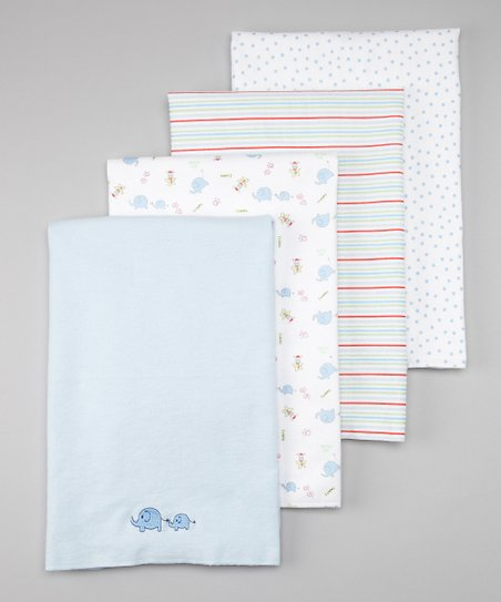 Blue Elephant Flannel Stroller Blanket Set