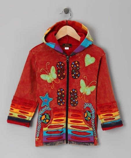 Red Rainbow Butterfly Zip-Up Hoodie - Toddler & Girls