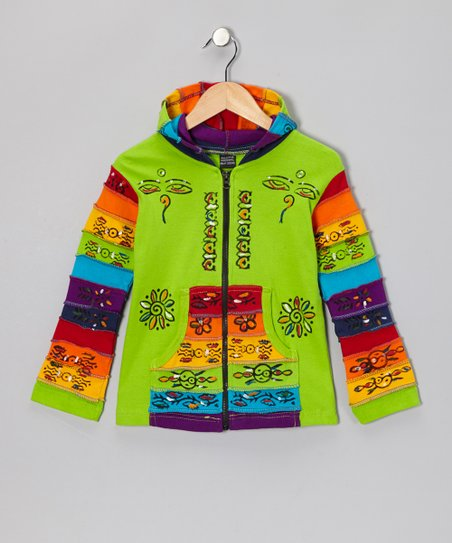 Green Rainbow Zip-Up Hoodie - Toddler & Girls