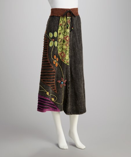Dark Brown & Gray Flower Skirt