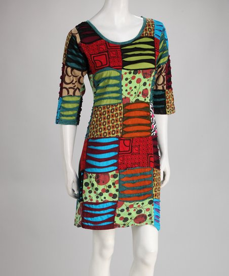 Blue & Red Patchwork Dress - Plus