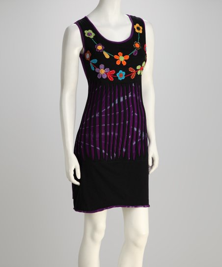 Black & Purple Blossom Sleeveless Dress