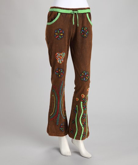Brown Embroidered Pants