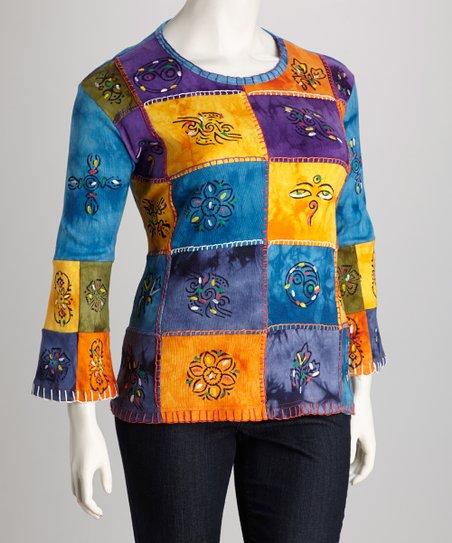 Blue Patchwork Three-Quarter Sleeve Top - Plus