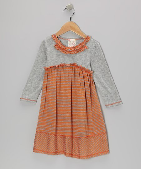 Orange & Heather Gray Double Ruffle Dress - Toddler