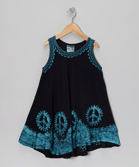 Black & Turquoise Peace Sign Dress - Toddler & Girls