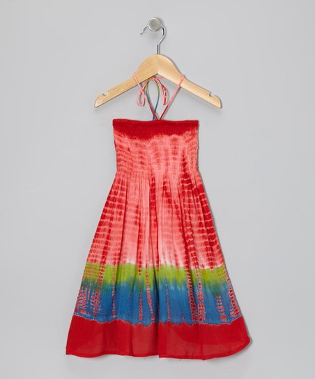 Red Tie-Dye Halter Dress - Toddler & Girls