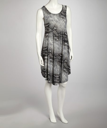 Black Snakeskin Dress - Women