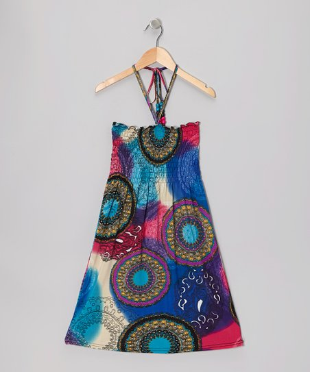 Blue Kaleidoscope Shirred Dress - Toddler & Girls
