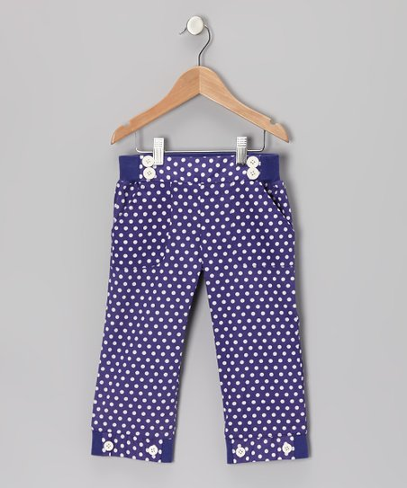 Deep Wisteria Polka Dot Sailor Capri Pants - Toddler & Girls