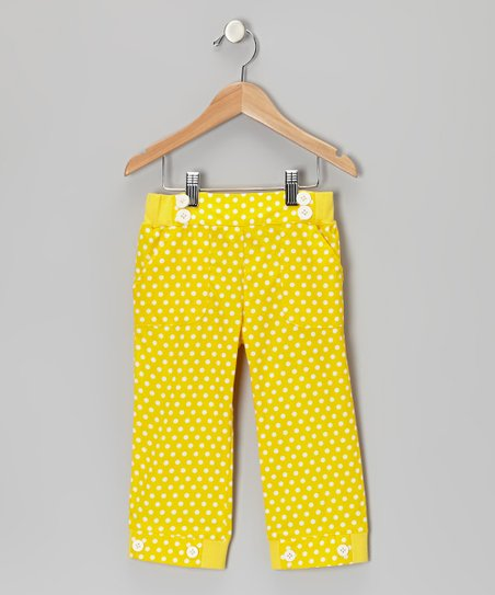 Aspen Yellow Polka Dot Sailor Capri Pants - Toddler & Girls