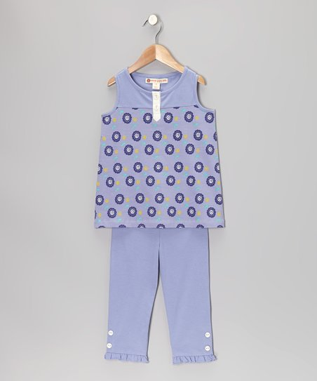 Violet Dot Floral Henley Tunic & Leggings - Toddler & Girls