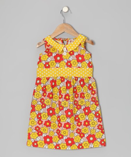 Red Poppy Sixties Floral Dress - Toddler & Girls