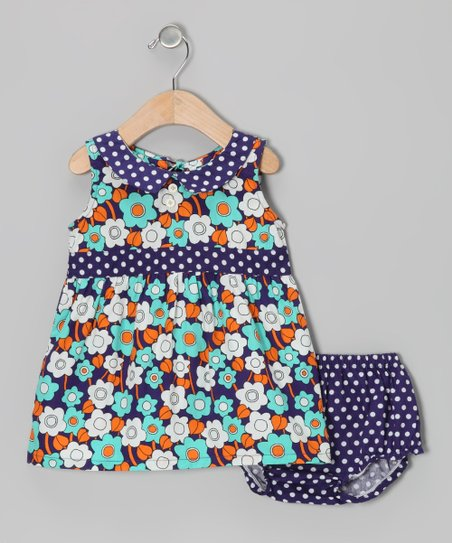 Pool Blue Sixties Floral Dress & Diaper Cover - Infant
