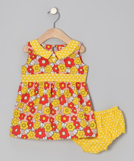 Red Poppy Sixties Floral Dress & Diaper Cover - Infant